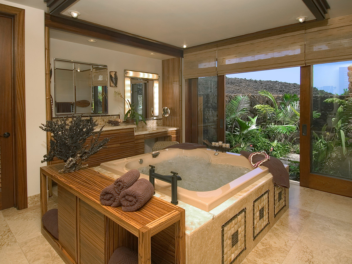 Tropical Bathroom Design With View