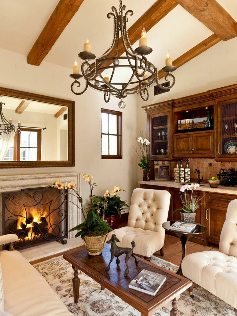 French Provincial Styled Living Room Design With Fireplace