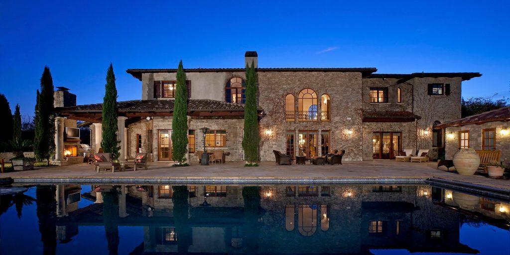 Rear Exterior Shot Of French Style Vineyard Estates House