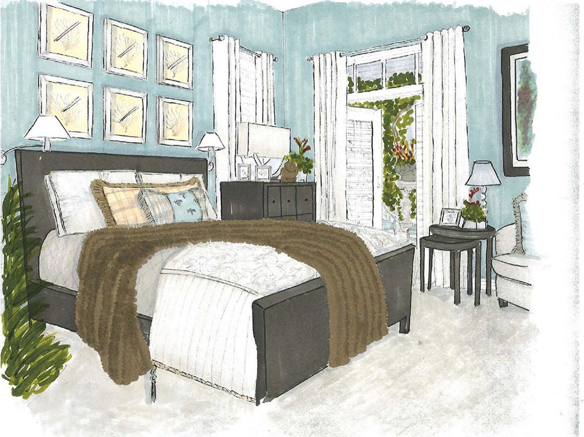 Color Rendering Guest Bedroom, Gayle Lee Design
