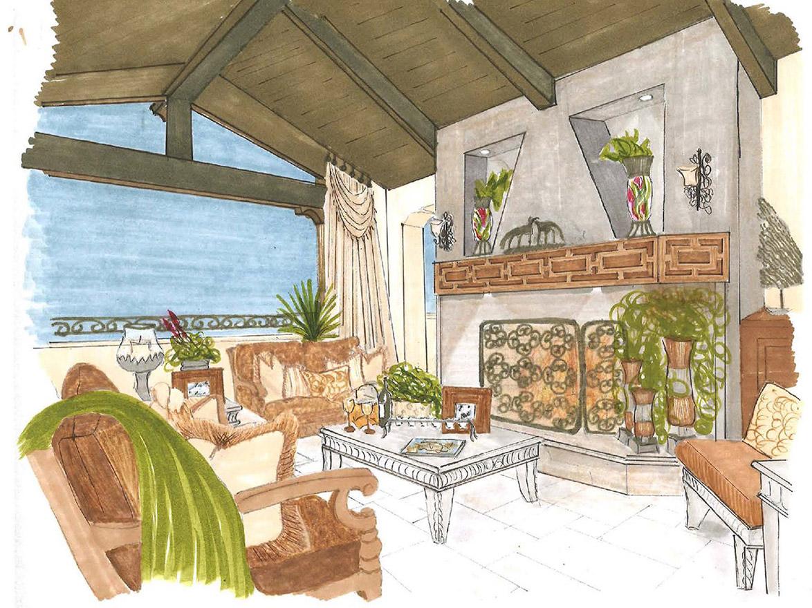 Color Rendering Loggia Design, Gayle Lee Design