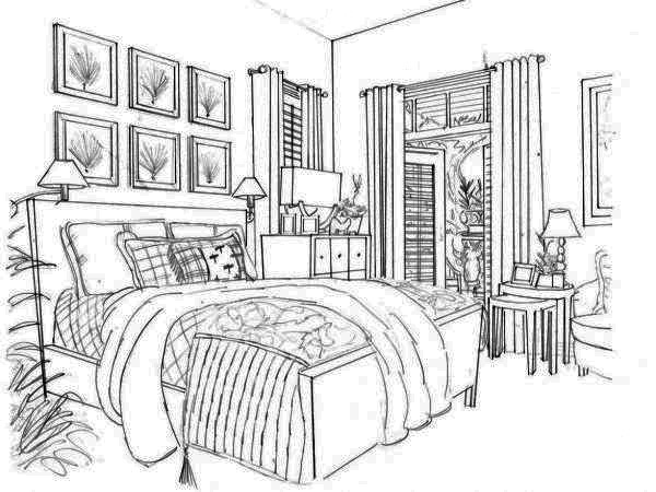 Perspective drawing of guest room by Gayle Lee and Co.