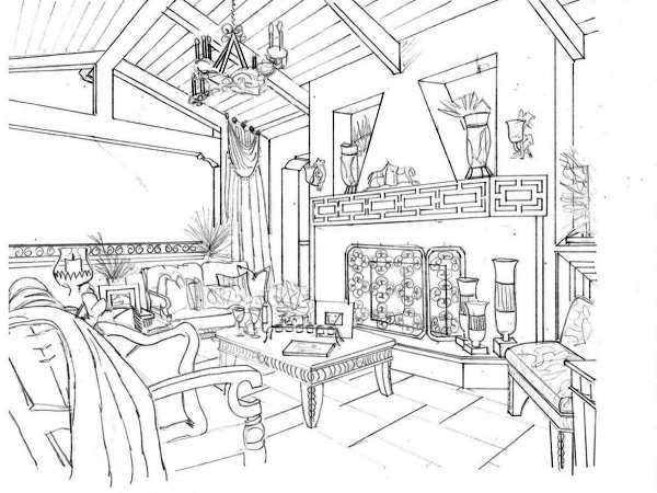 Perspective drawing of Loggia by Gayle Lee Design & Co.